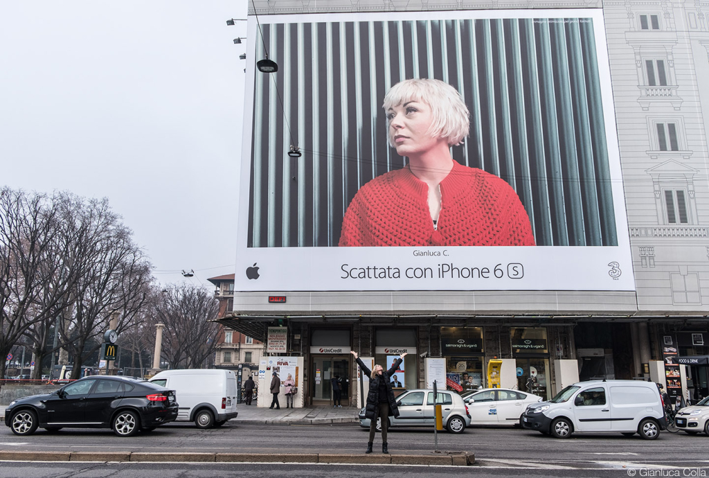 Big billboard in Milan of Apple iPhone 6s campaign, shot by Gianluca Colla